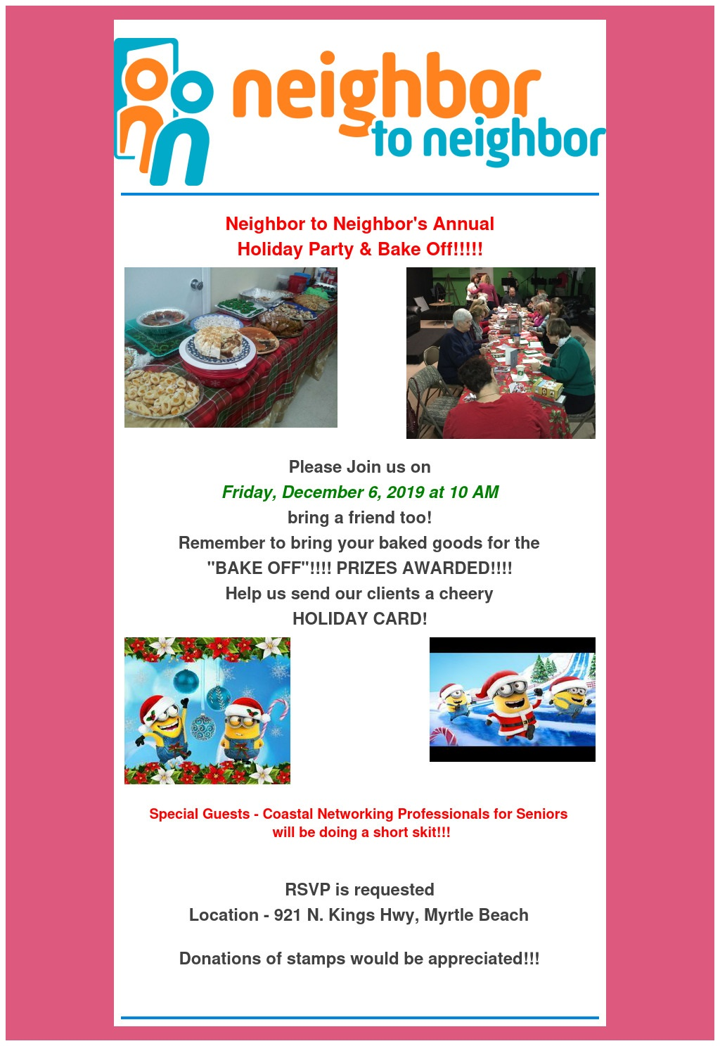 Neighbor to Neighbor Annual Holiday Party & Bake Off